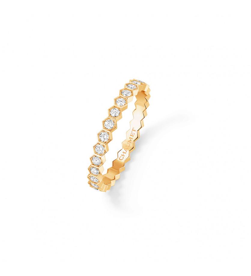 Bague Bee My Love en or jaune, pavé de diamants taille brillant