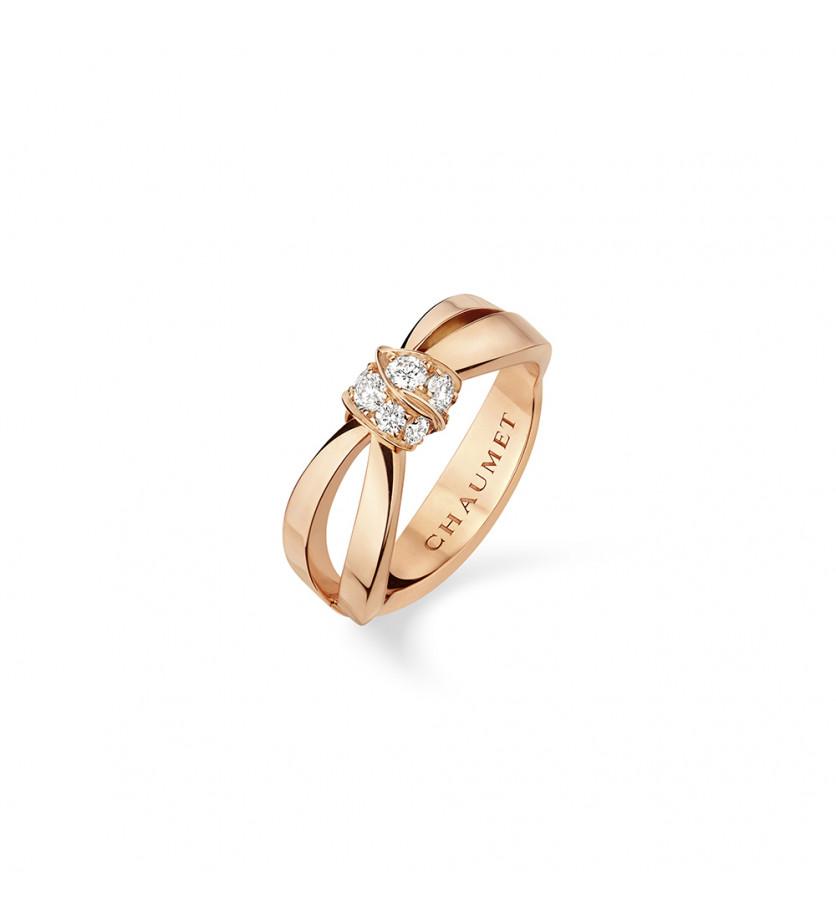 Bague Liens Seduction or rose diamants