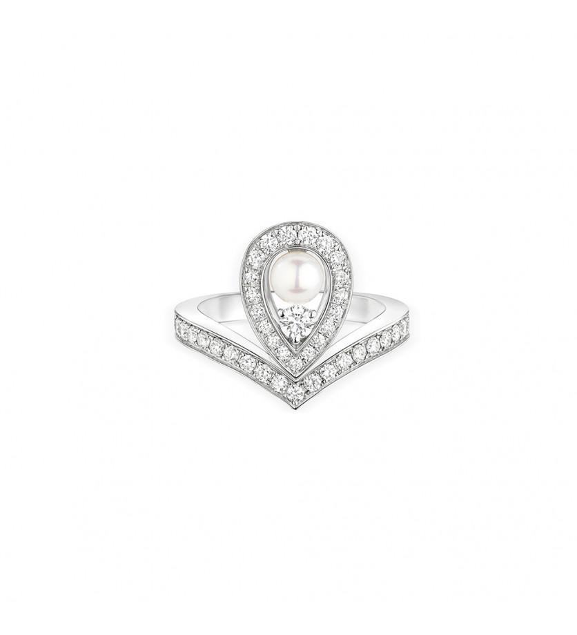 Bague Joséphine Aigrette or blanc pavée diamants perle de culture Akoya