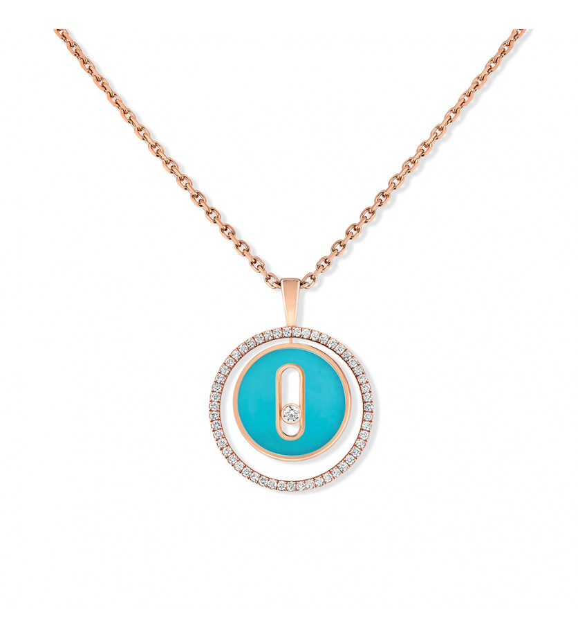 Collier Lucky Move PM or rose turquoise diamants