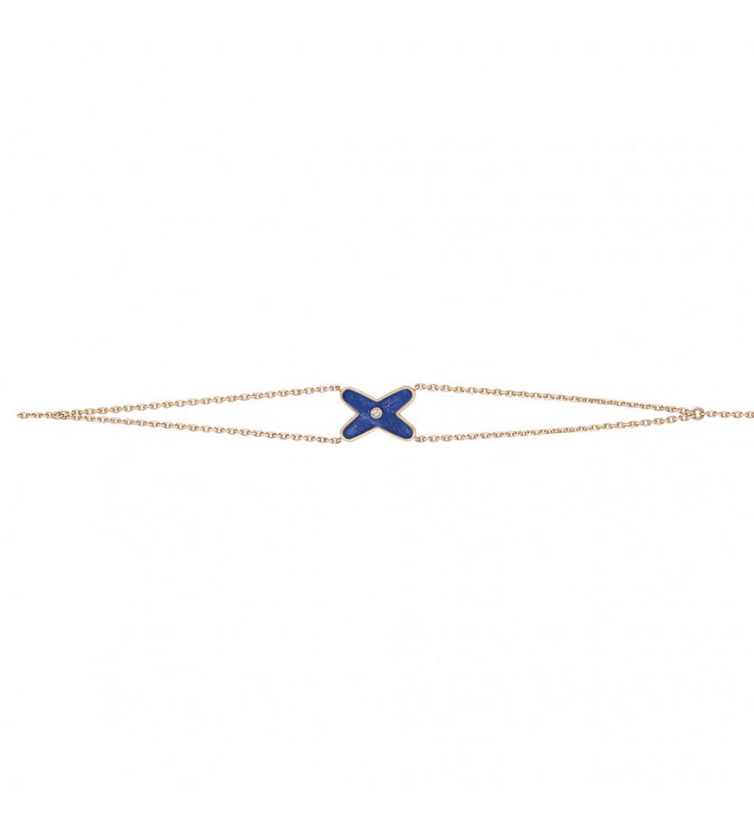 Bracelet Jeux de Liens or rose diamant et lapis lazuli