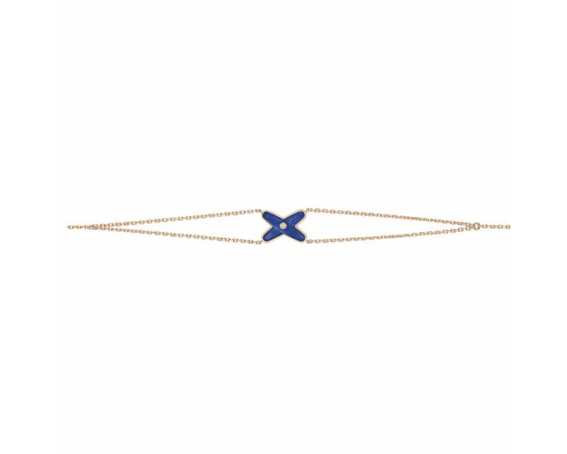 Bracelet Jeux de Liens or rose diamant lapis lazuli