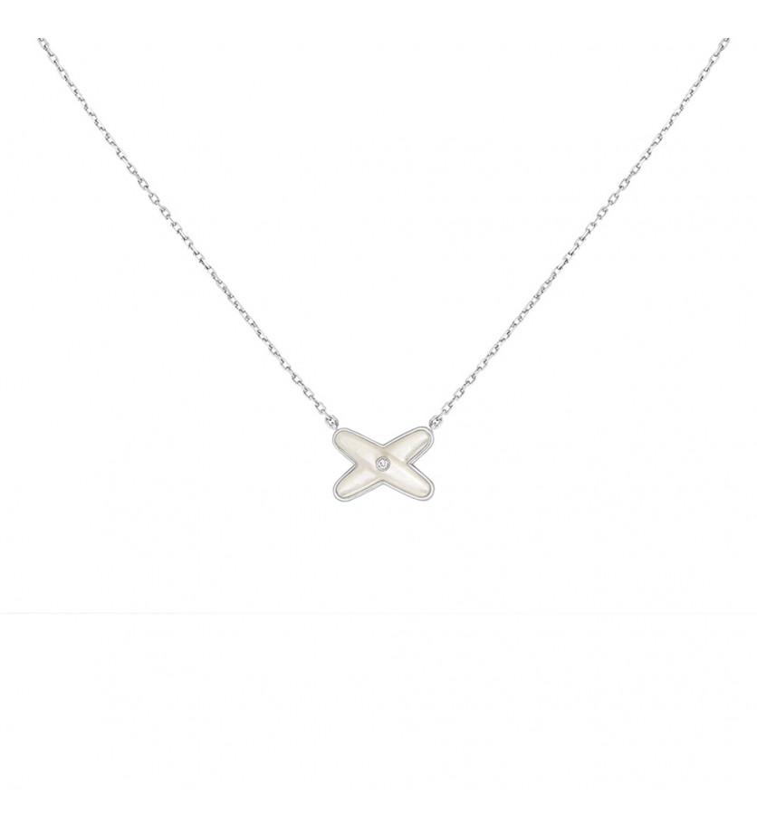 Pendentif Jeux de Liens or gris nacre blanche diamants