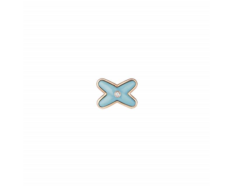 Boucle d'oreille à l'unité Jeux de Liens Or rose Diamants  et Turquoise