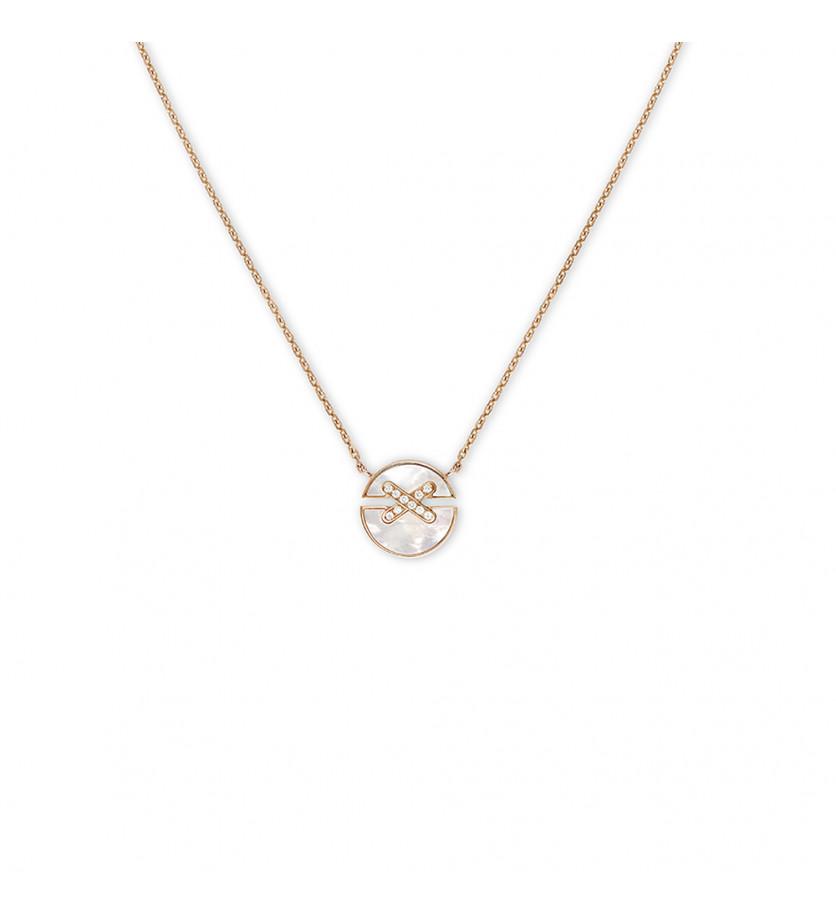 Pendentif Jeux de Liens Harmony petit modèle (13mm) or rose nacre blanche liens pavés diamants sur c