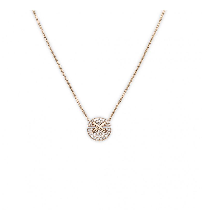 Pendentif Jeux de Liens Harmony petit modèle (13mm) or rose pavé diamants sur chaîne en or rose 38/4