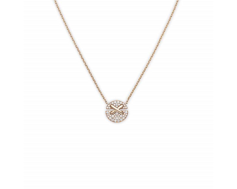 Pendentif Jeux de Liens Harmony PM or rose pavé diamants