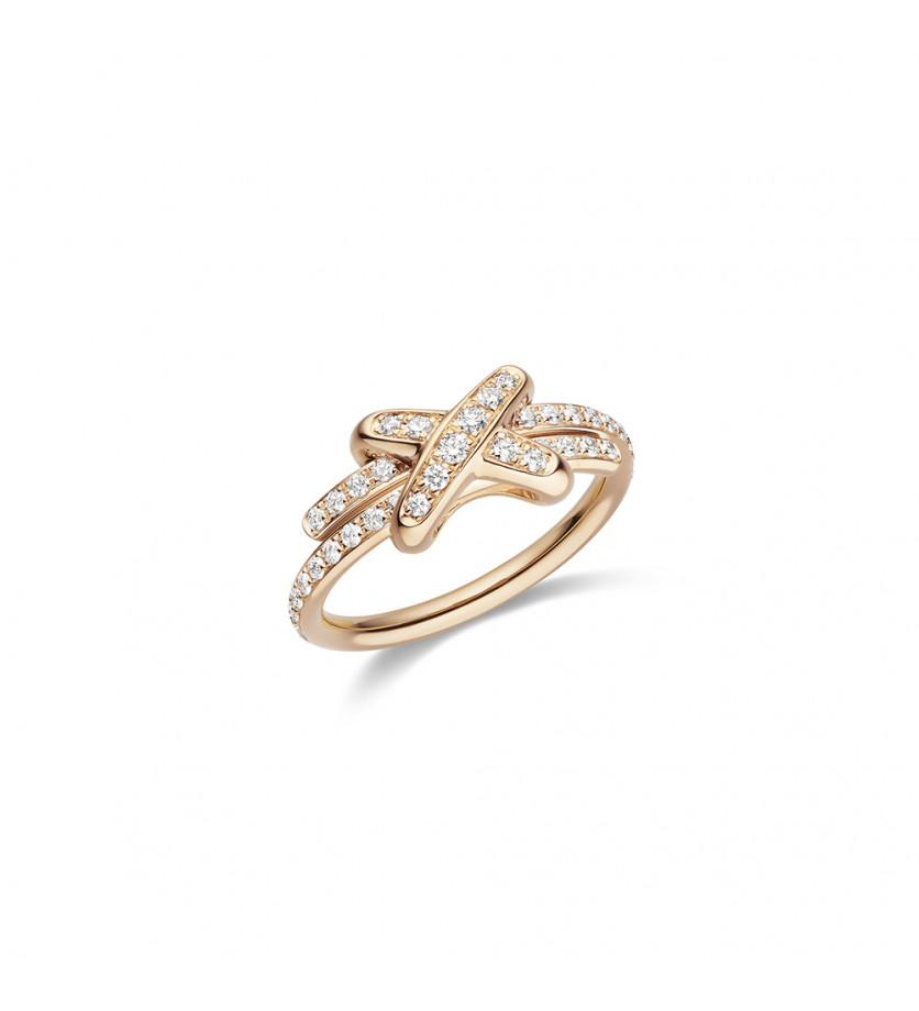 Bague Jeux de Liens XS or rose diamants