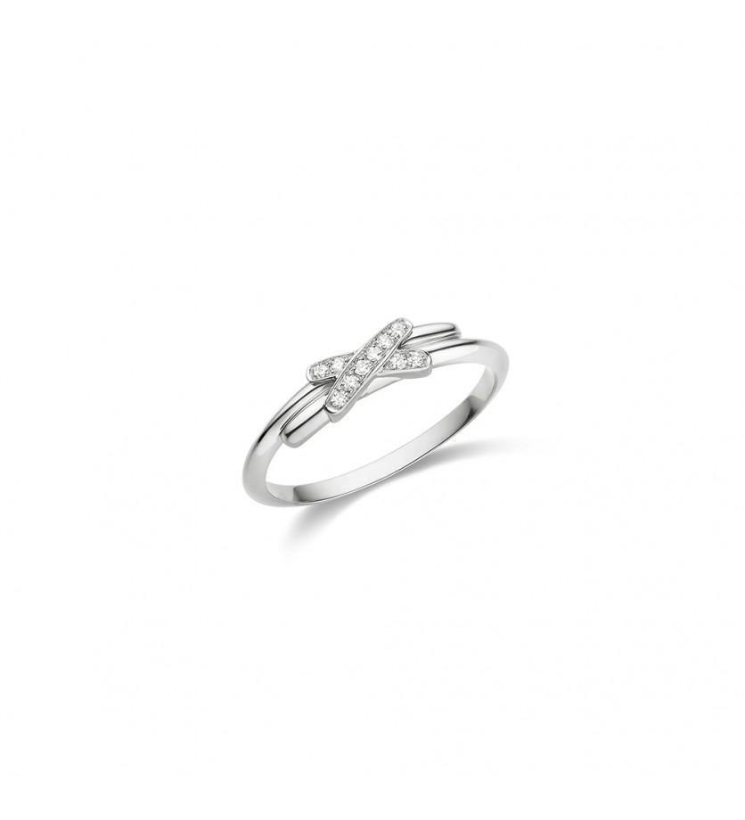Bague Jeux de Liens XXS or blanc diamants