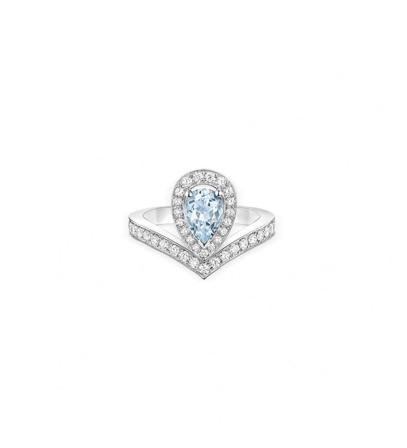Bague Joséphine Aigrette or blanc pavée diamants aigue marine