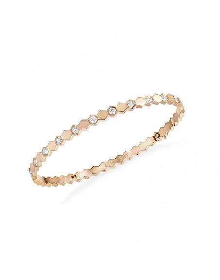 Bracelet Bee My Love or rose semi pavé diamants
