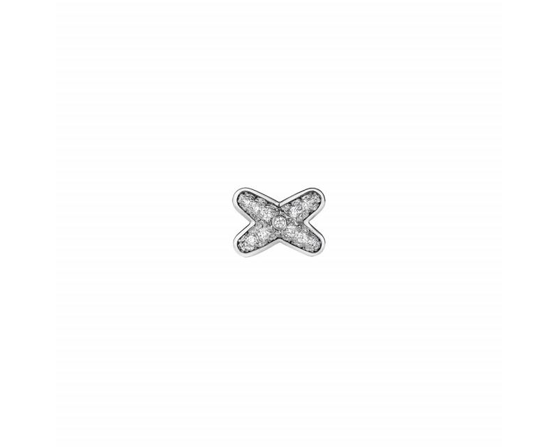 Boucle d'oreille Puce Jeux de Liens or gris rhodié pavée diamants (à l'unité)
