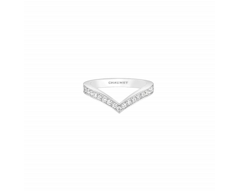 Bague Joséphine Aigrette or blanc rhodié pavée diamants