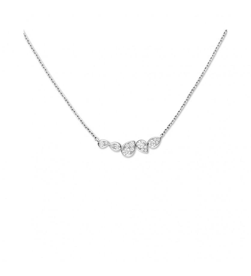 Collier Joséphine Ronde d'Aigrettes 5 motifs en or blanc pavé de diamants taille brillant