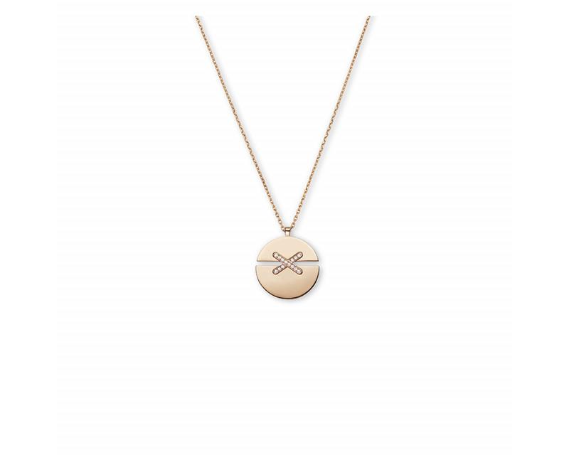 Pendentif Jeux de Liens Harmony grand modèle (23mm) or rose liens pavés diamants sur chaîne