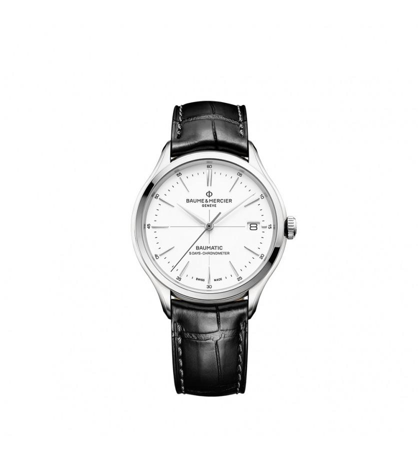 Montre Clifton 40mm Automatique Acier Bracelet cuir noir