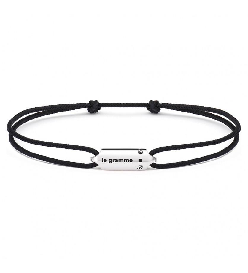 Bracelet Segment 3 Grammes argent cordon noir