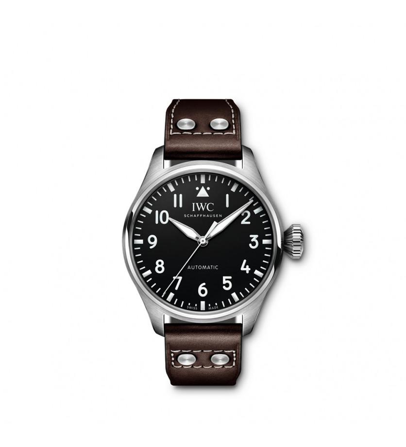 Grande Montre d'Aviateur 43mm Automatique Acier Cadran Noir Bracelet Veau Marron