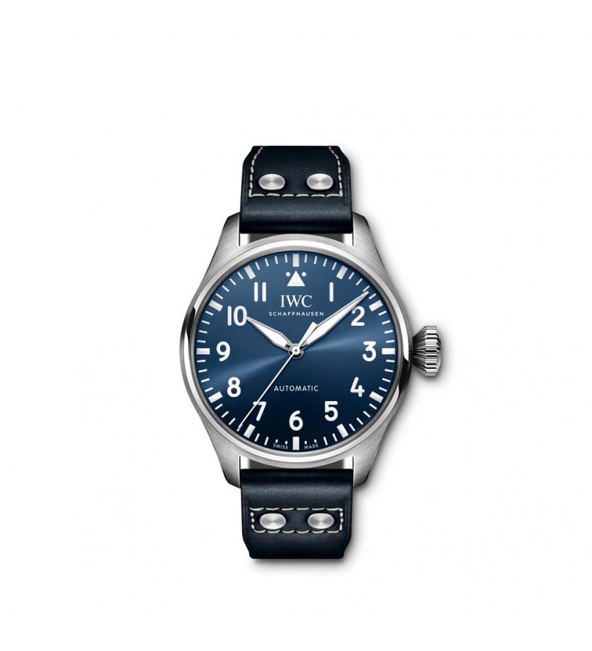 Grande Montre d'Aviateur 43mm Automatique Acier Cadran Bleu Bracelet Veau Bleu