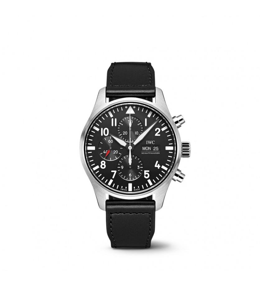 Montre d'Aviateur Chronographe Cadran noir Bracelet Veau Noir