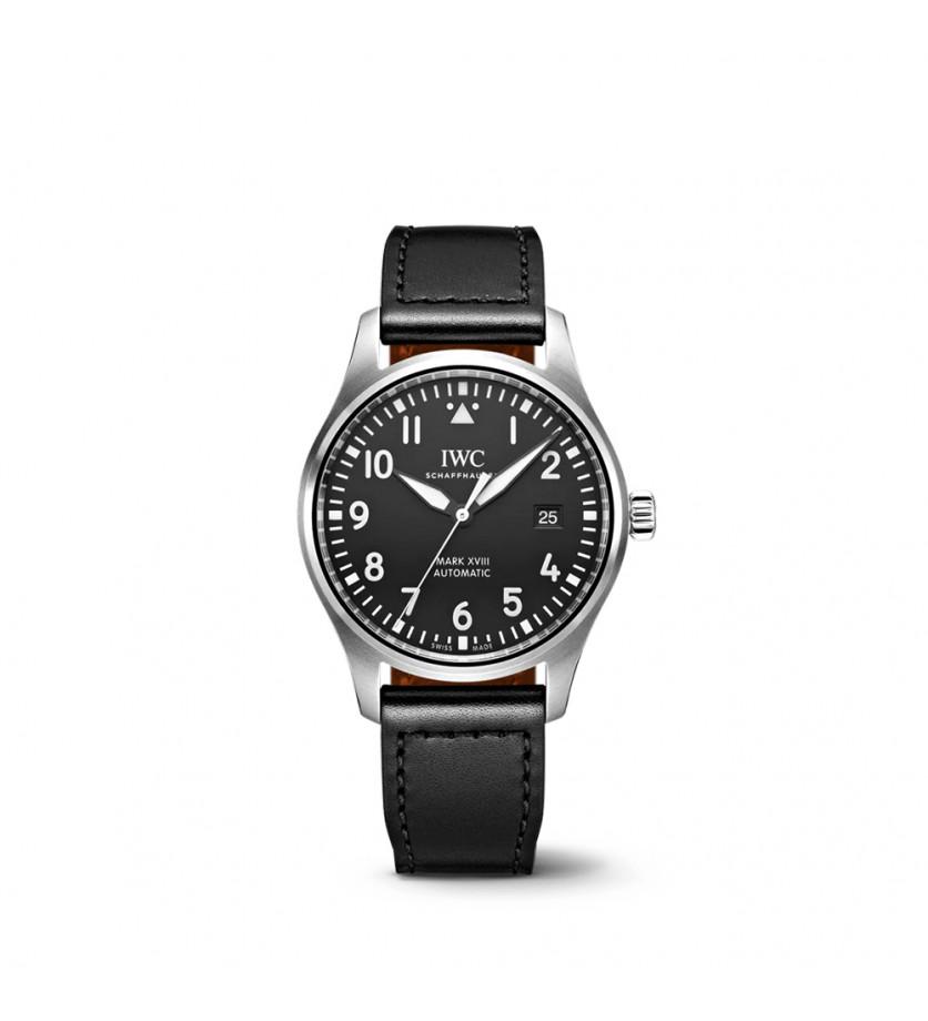 Montre d'aviateur Mark XVIII Cadran noir Bracelet Veau Noir