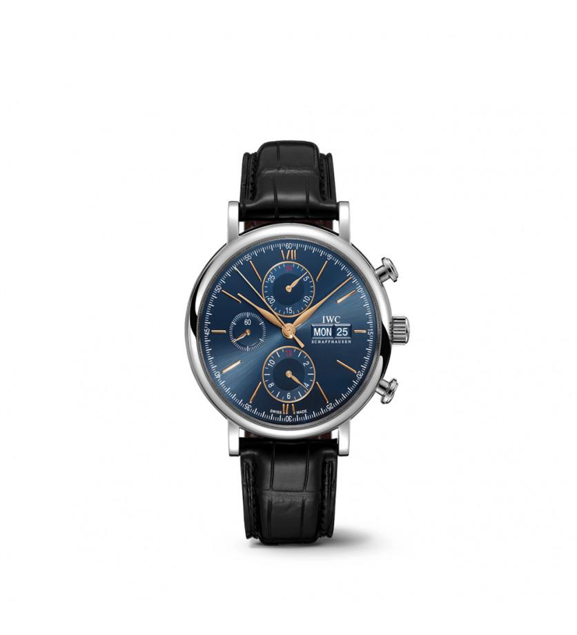 Montre Portofino Chronographe 42 mm Cadran Bleu Bracelet Alligator Noir