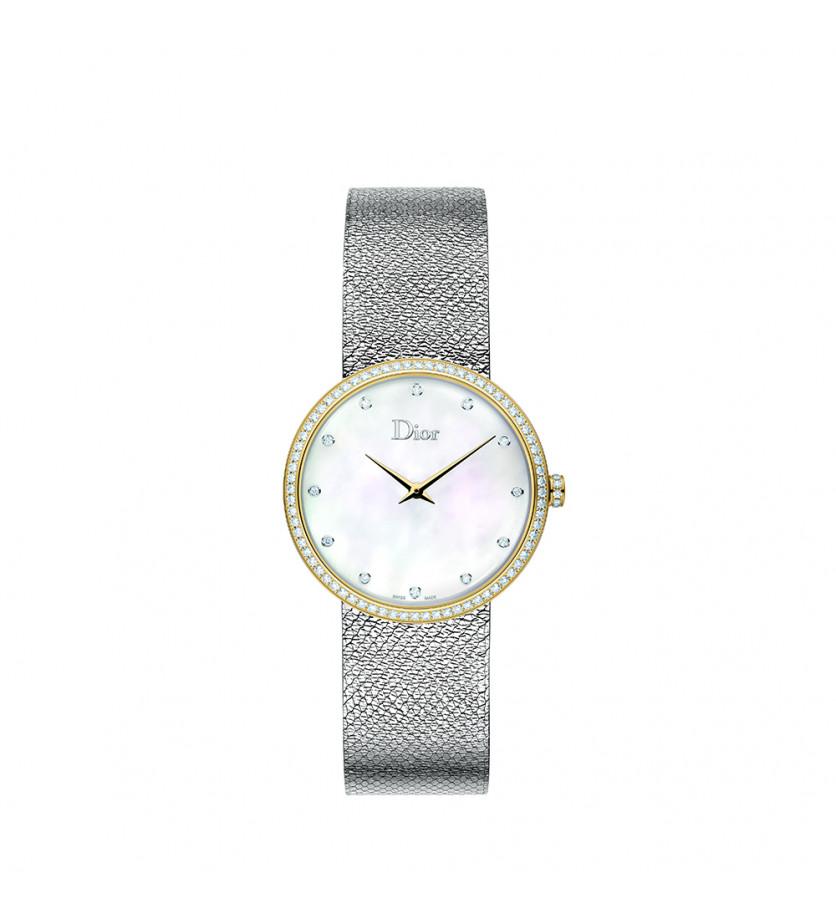 Montre D de Dior Satine 36mm Cadran Nacre Sertie Diamants Or Jaune