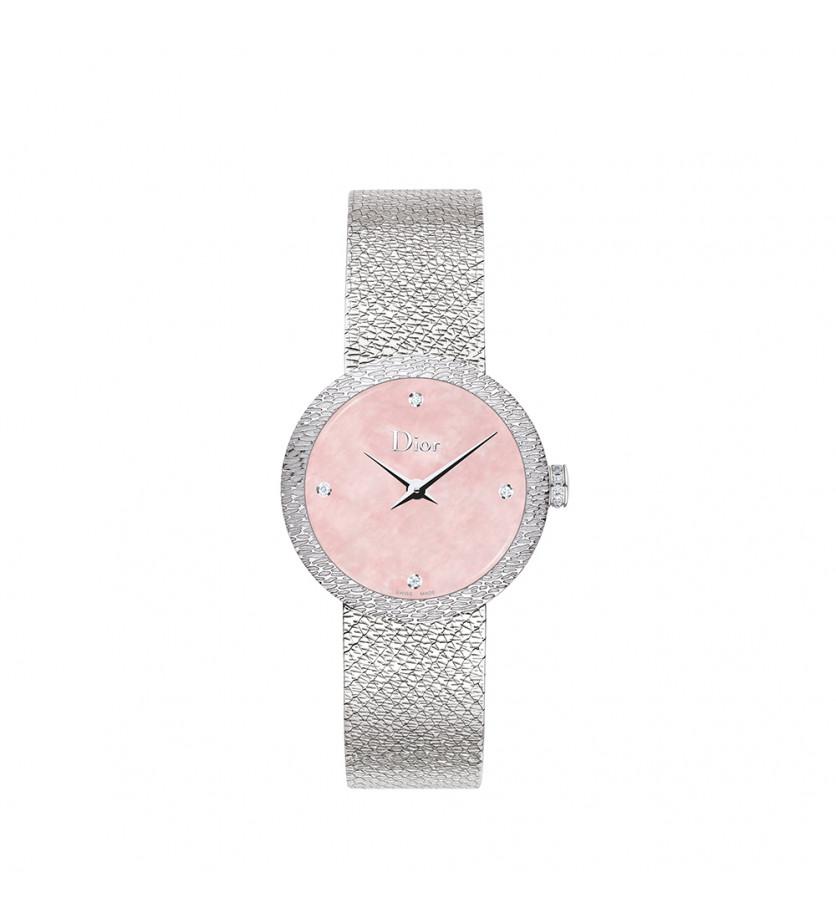 Montre D de Dior Satine 25mm Cadran Nacre Rose Diamants