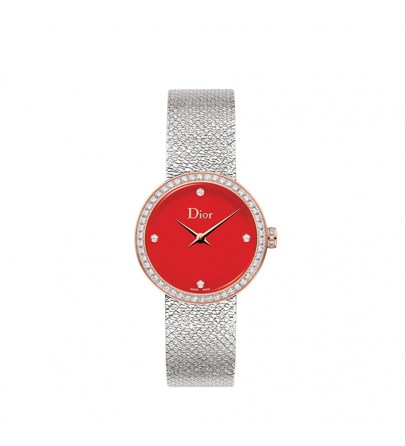 Montre D de Dior Satine 25mm Cadran Rouge Diamants