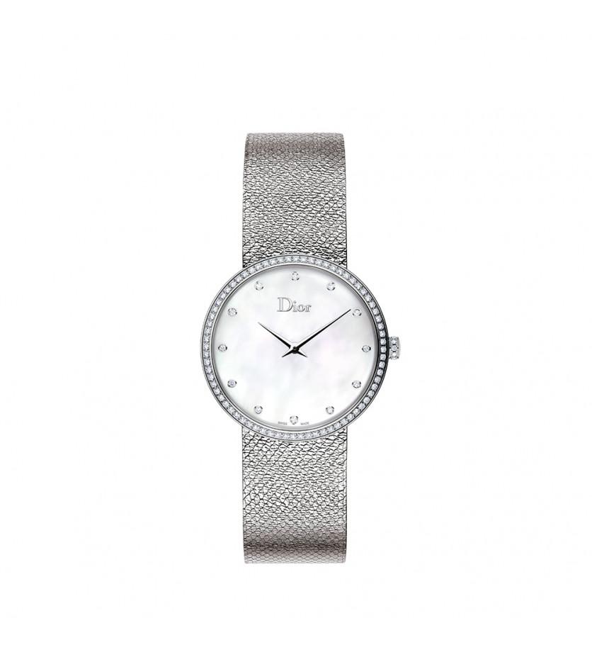 Montre D de Dior Satine 36mm Cadran Nacre Blanche Diamants