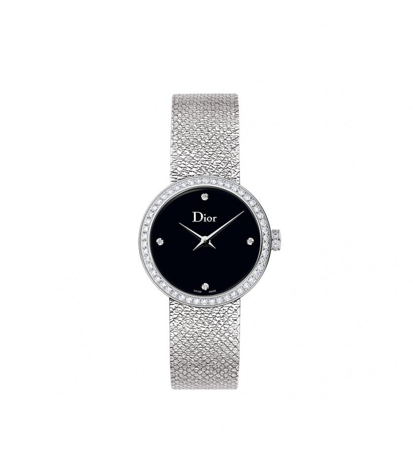 Montre D de Dior Satine 25mm Cadran Nacre Noir Sertie Diamants