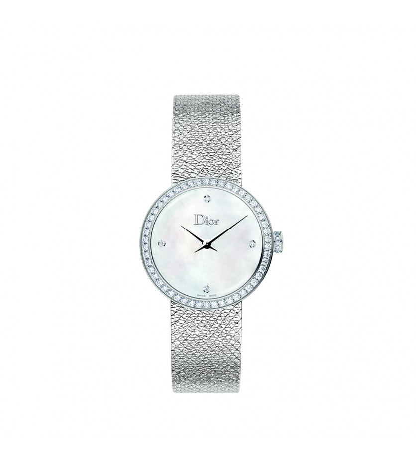 Montre Mini D de Dior Satine 19mm Cadran Nacre Blanche Sertie Diamants