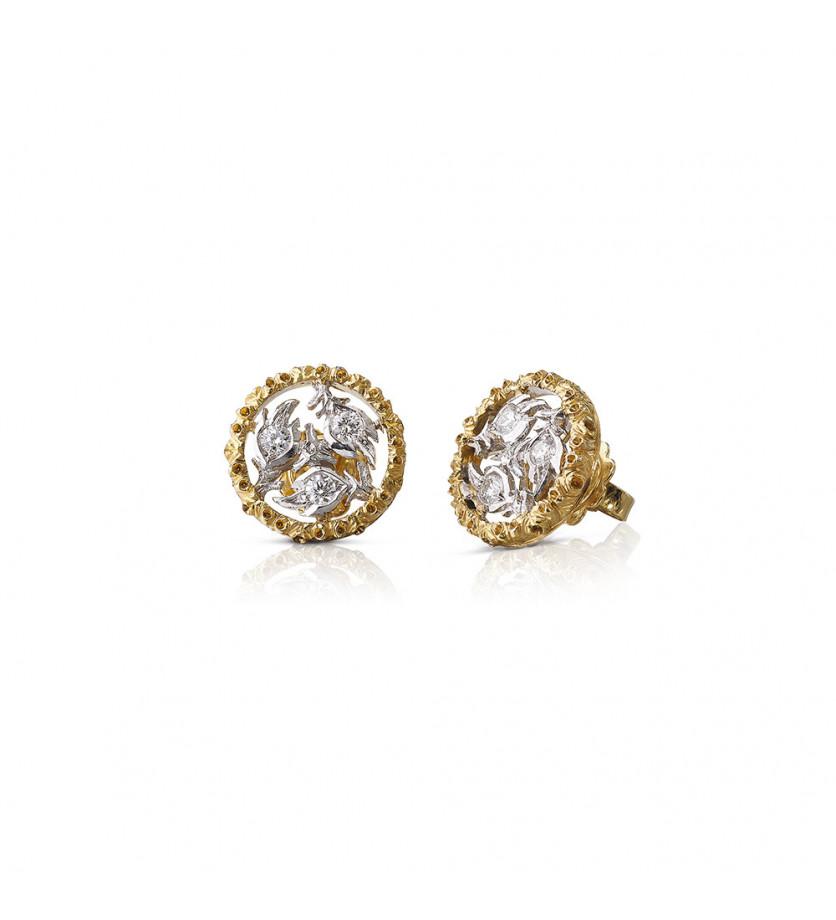 Puces d'oreille Ramage or gris or jaune diamants